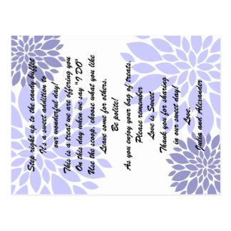 Tarjetas florales de la comida fría del caramelo postal