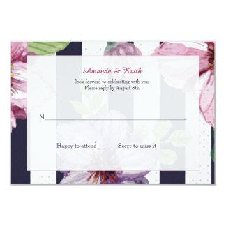 """Tarjetas florales de la respuesta del camafeo invitación 3.5"""" x 5"""""""
