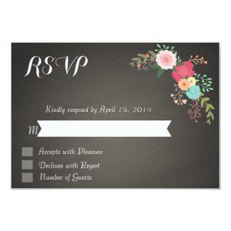 """Tarjetas florales de RSVP de la pizarra Invitación 3.5"""" X 5"""""""