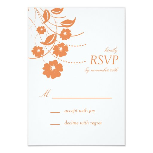 """Tarjetas florales de RSVP del Flourish Invitación 3.5"""" X 5"""""""