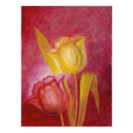 Tarjetas florales del arte de los tulipanes rojos tarjetas postales