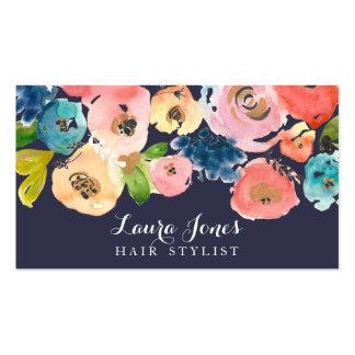 Tarjetas florales del estilista de la acuarela de tarjetas de visita