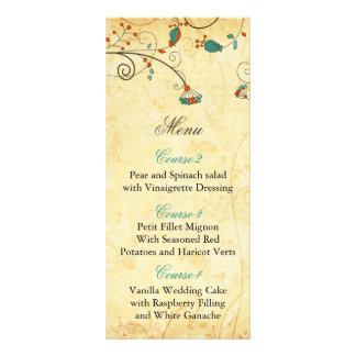 """tarjetas florales del menú del boda de la aguamari folleto publicitario 4"""" x 9"""""""