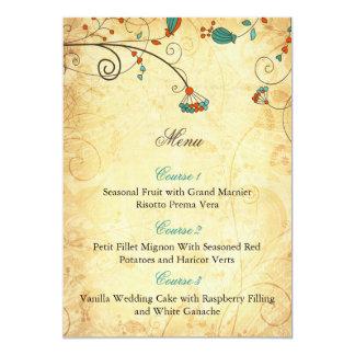 """tarjetas florales del menú del boda de la invitación 5"""" x 7"""""""