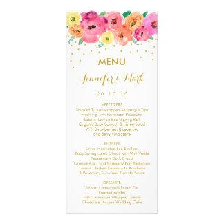 Tarjetas florales del menú del boda del confeti tarjeta publicitaria a todo color