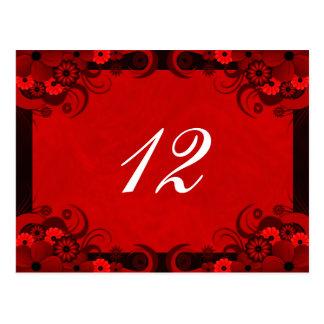 Tarjetas florales del número de la tabla de la postal
