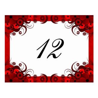 Tarjetas florales del número de la tabla de la postales