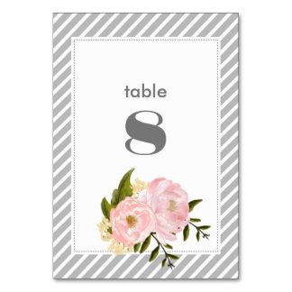Tarjetas florales del número de la tabla del boda
