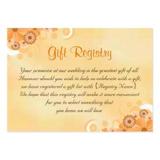 Tarjetas florales del registro de regalos del boda tarjetas de visita grandes