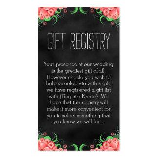 Tarjetas florales del registro de regalos del rosa tarjetas de visita