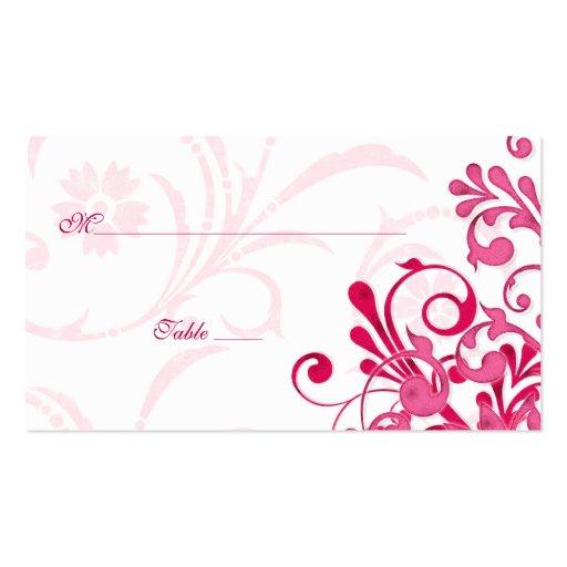 Tarjetas florales del rosa y blancas del boda del tarjetas de visita