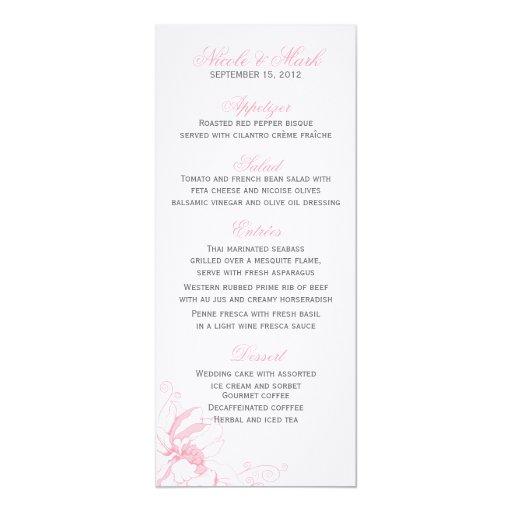 Tarjetas florales delicadas del menú invitación