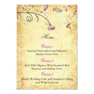 """tarjetas florales fucsias del menú del boda del invitación 5"""" x 7"""""""