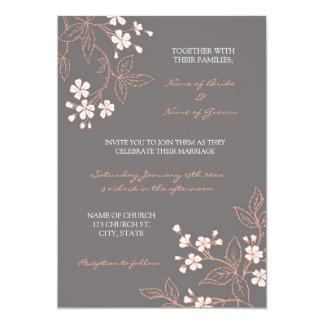 Tarjetas florales grises coralinas de la invitación 12,7 x 17,8 cm