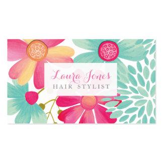 Tarjetas florales pintadas de la cita del tarjetas de visita
