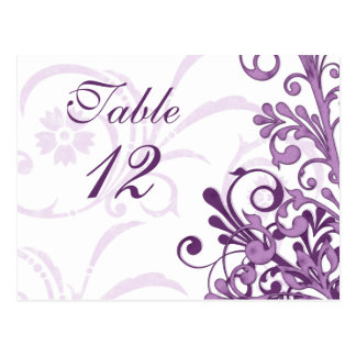 Tarjetas florales púrpuras y blancas de la tabla postal