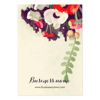 Tarjetas florales rojas artísticas del pendiente tarjetas de visita grandes