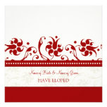 Tarjetas florales rojas de la invitación de la fug