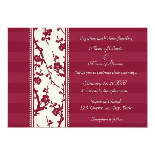 Tarjetas florales rojas y beige de la invitación invitación 12,7 x 17,8 cm