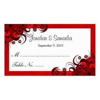 Tarjetas florales rojas y blancas del lugar de la tarjetas de visita