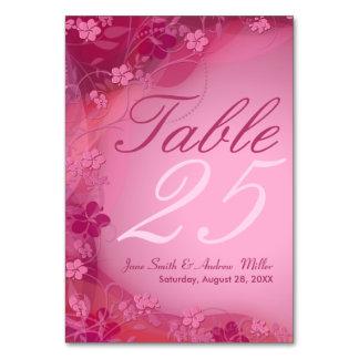 Tarjetas florales rosadas del número de la tabla
