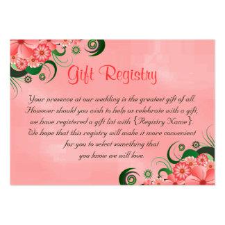 Tarjetas florales rosadas del registro de regalos tarjetas de visita grandes
