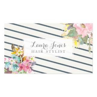 Tarjetas florales y de las rayas del estilista de tarjetas de visita