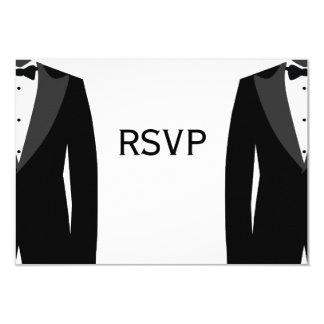 """Tarjetas gay blancos y negros de RSVP que se casan Invitación 3.5"""" X 5"""""""