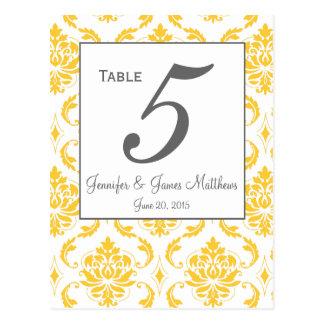 Tarjetas grises del número de la tabla del boda de tarjeta postal