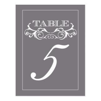 Tarjetas grises del número de la tabla del boda postal