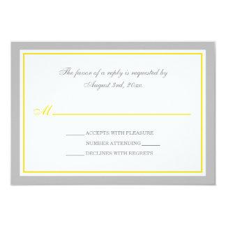 Tarjetas grises y amarillas de RSVP de la Invitación 8,9 X 12,7 Cm