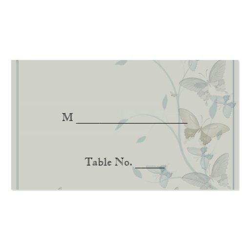 Tarjetas grises y azules del lugar del boda del pr tarjeta de negocio