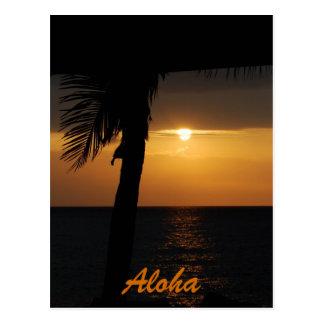 Tarjetas hawaianas de la puesta del sol de la hawa tarjetas postales