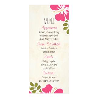 Tarjetas hawaianas del menú del hibisco fucsia tarjeta publicitaria