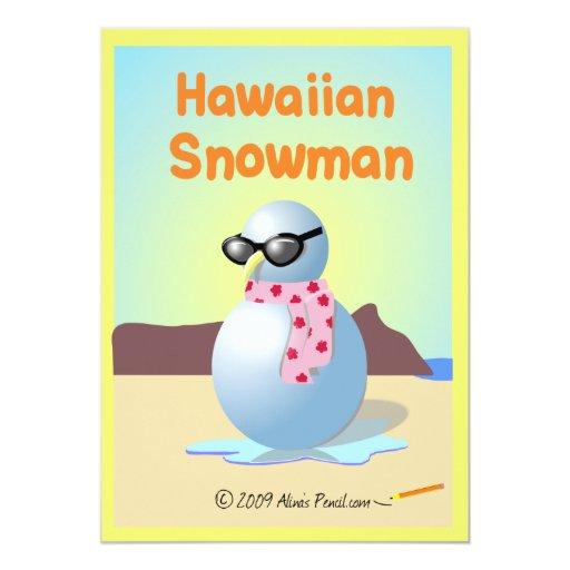 Tarjetas hawaianas del muñeco de nieve comunicado