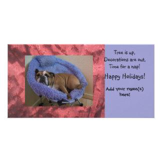 Tarjetas inglesas del día de fiesta del navidad de tarjeta personal con foto