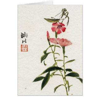 Tarjetas inspiradas asiáticas del vintage - mantis