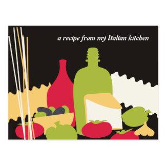 tarjetas italianas de la receta del cocinero de la tarjeta postal