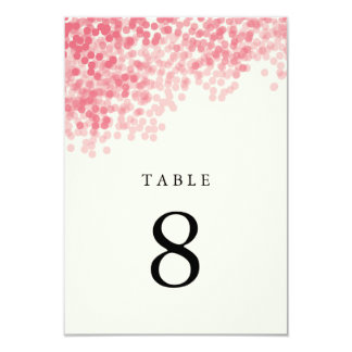 Tarjetas ligeras rosadas del número de la tabla de invitacion personalizada