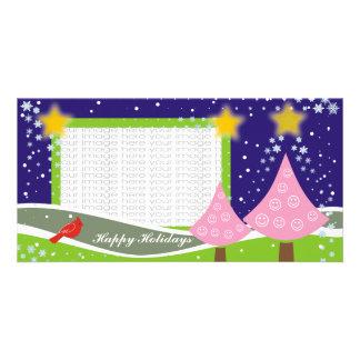 Tarjetas lindas de la foto de los árboles de navid tarjetas fotográficas personalizadas