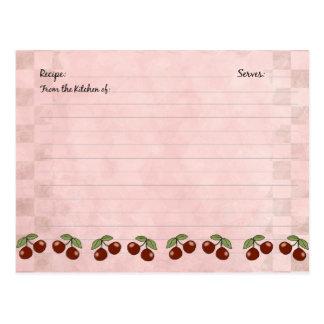 Tarjetas lindas de la receta de la cereza postales