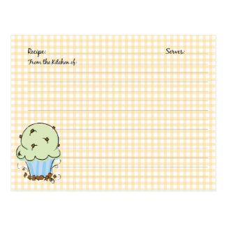 Tarjetas lindas de la receta de la magdalena postales