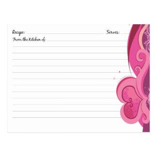 Tarjetas lindas de la receta del corazón tarjeta postal