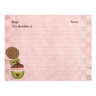 Tarjetas lindas de la receta del postre tarjetas postales