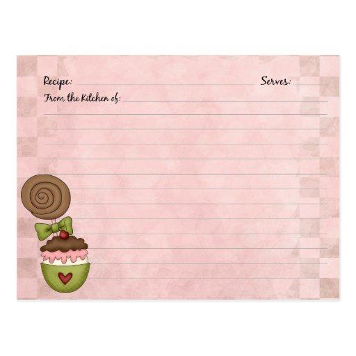 Tarjetas lindas de la receta del postre tarjeta postal