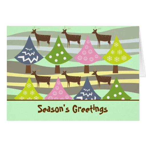 Tarjetas lindas de los árboles de navidad y de los