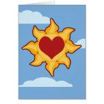 Tarjetas lindas de Sun y de felicitación del coraz