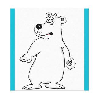 Tarjetas lindas del diseño del oso polar y impresión en lienzo
