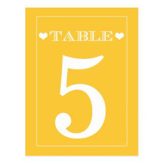 Tarjetas lindas del número de la tabla del boda tarjetas postales