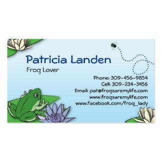 Tarjetas lindas del perfil de las ranas tarjeta de visita